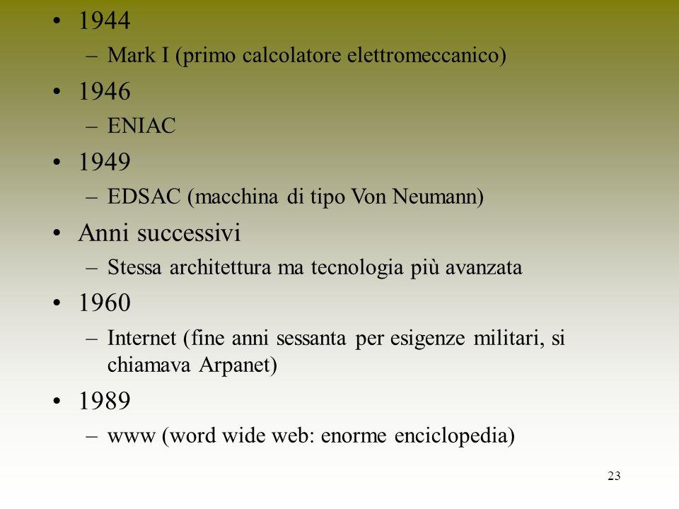 1944 Mark I (primo calcolatore elettromeccanico) 1946. ENIAC. 1949. EDSAC (macchina di tipo Von Neumann)