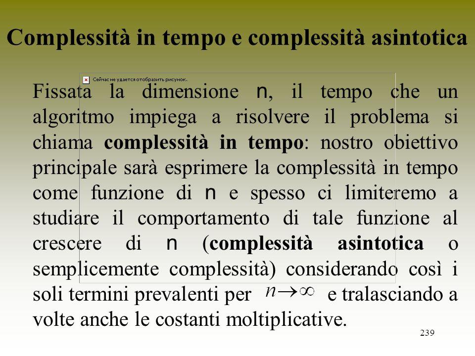 Complessità in tempo e complessità asintotica