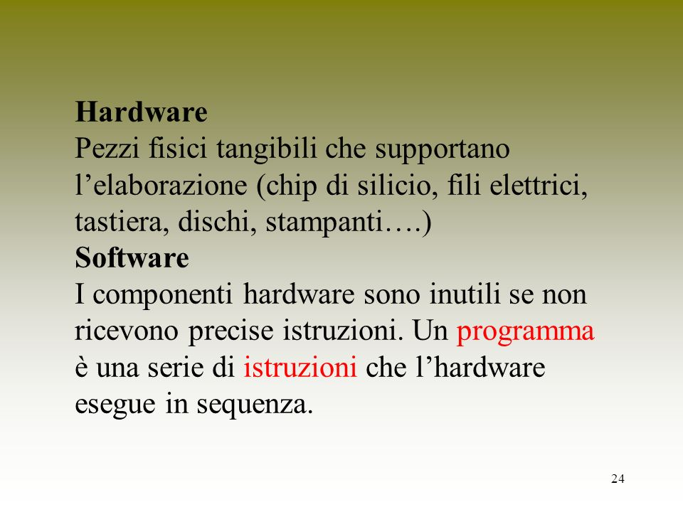 Hardware Pezzi fisici tangibili che supportano l'elaborazione (chip di silicio, fili elettrici, tastiera, dischi, stampanti….)