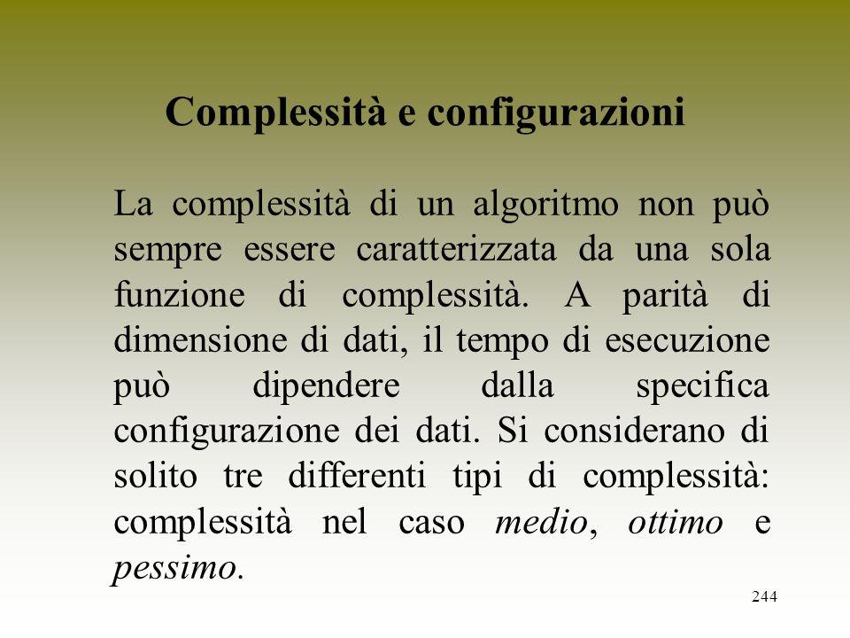 Complessità e configurazioni