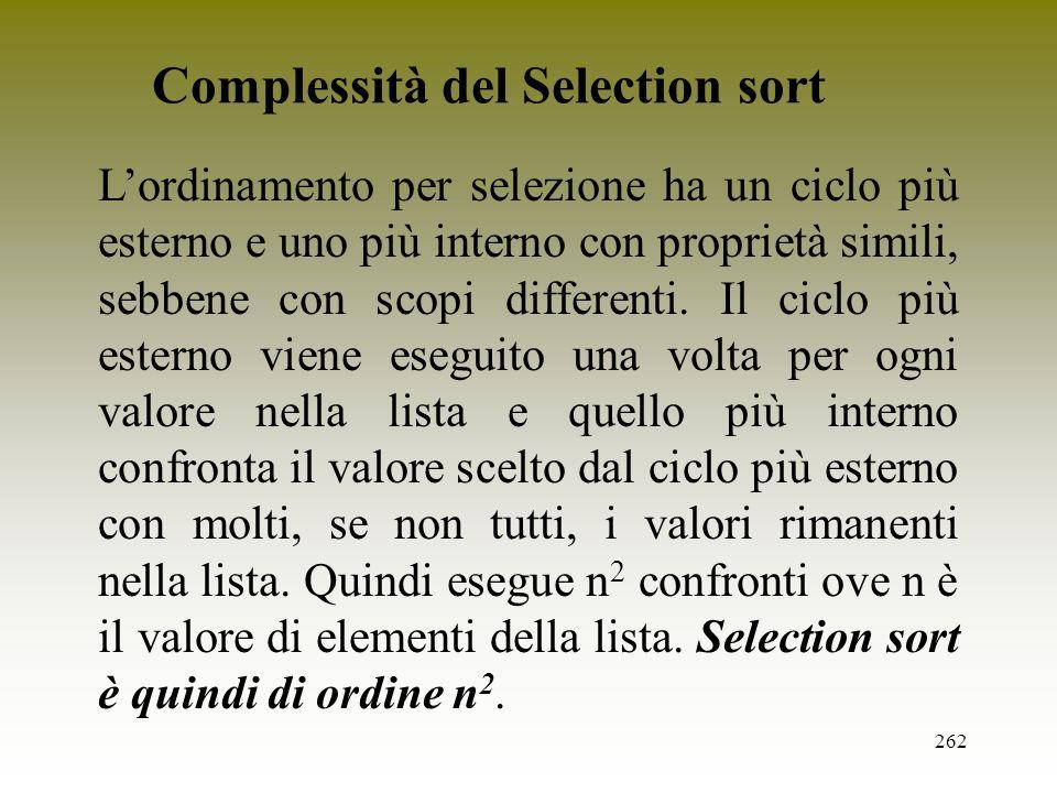 Complessità del Selection sort