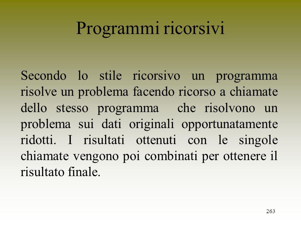 Programmi ricorsivi