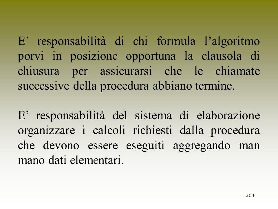 E' responsabilità di chi formula l'algoritmo porvi in posizione opportuna la clausola di chiusura per assicurarsi che le chiamate successive della procedura abbiano termine.