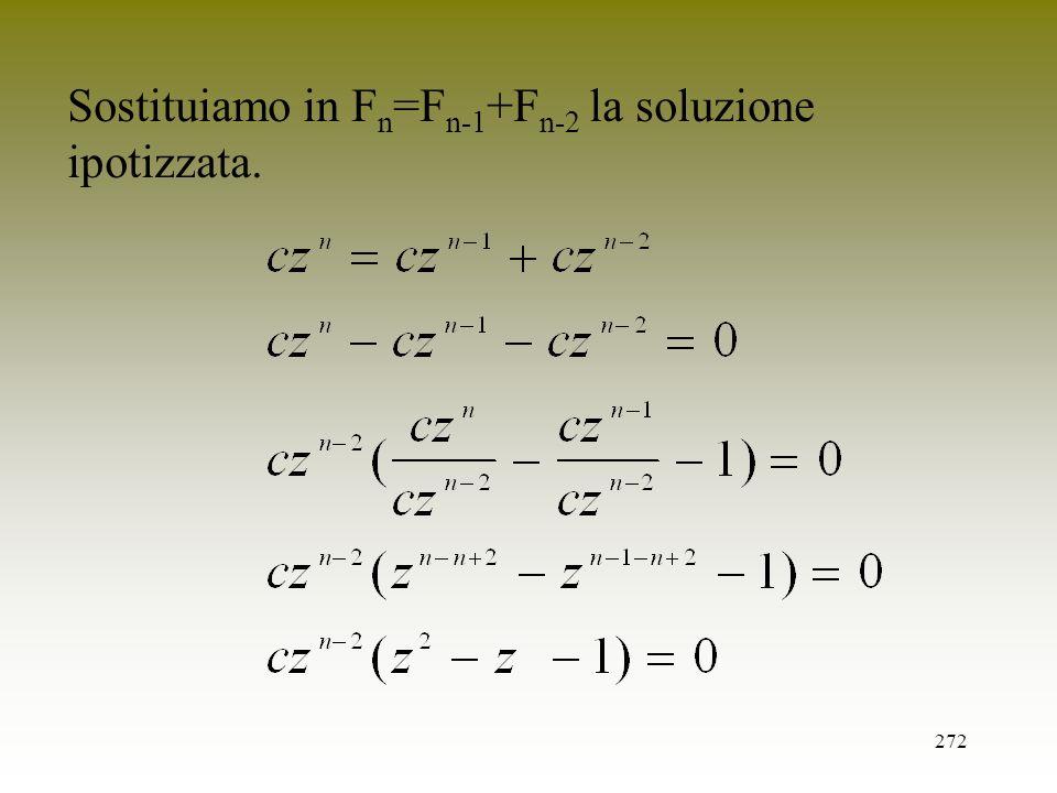 Sostituiamo in Fn=Fn-1+Fn-2 la soluzione ipotizzata.