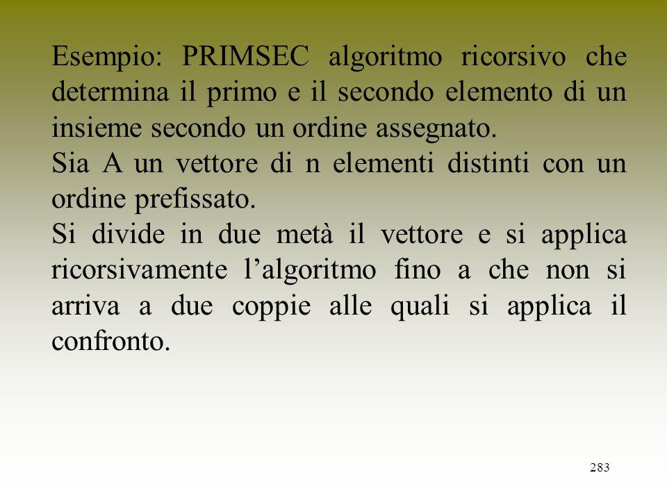 Esempio: PRIMSEC algoritmo ricorsivo che determina il primo e il secondo elemento di un insieme secondo un ordine assegnato.