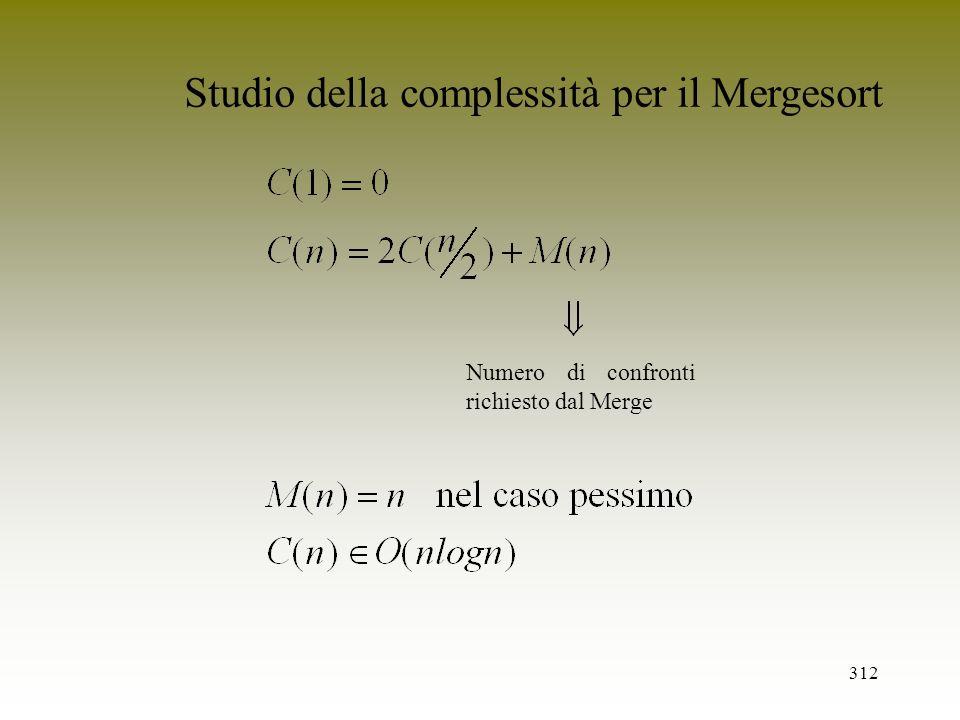 Studio della complessità per il Mergesort