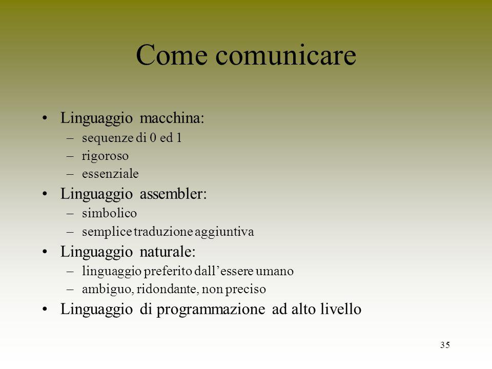 Come comunicare Linguaggio macchina: Linguaggio assembler:
