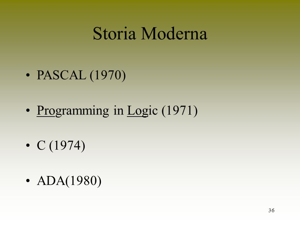 Storia Moderna PASCAL (1970) Programming in Logic (1971) C (1974)