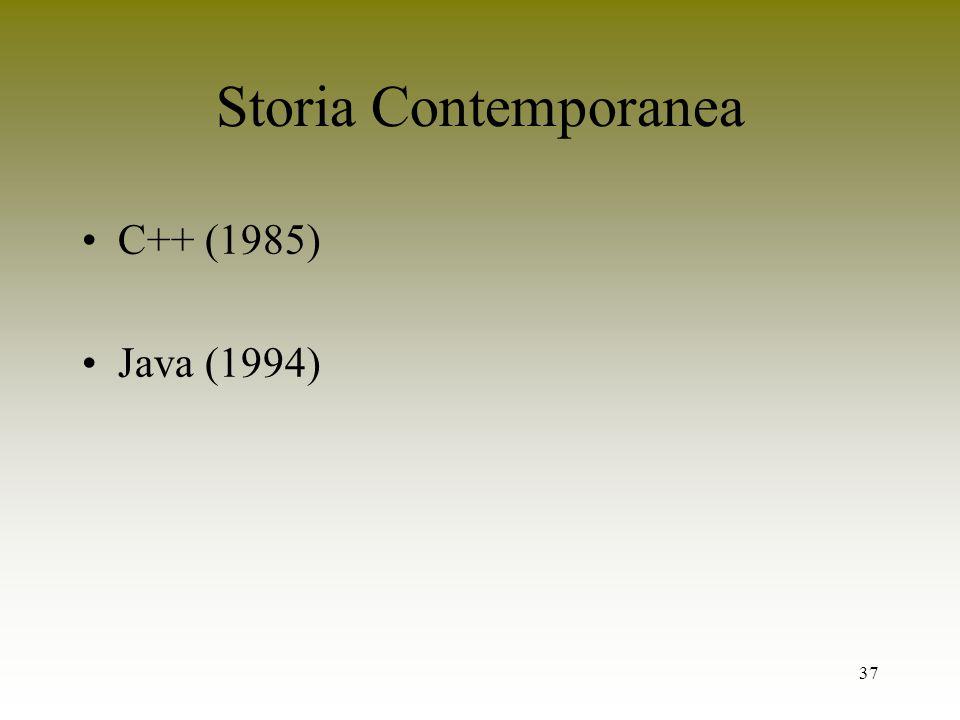 Storia Contemporanea C++ (1985) Java (1994)