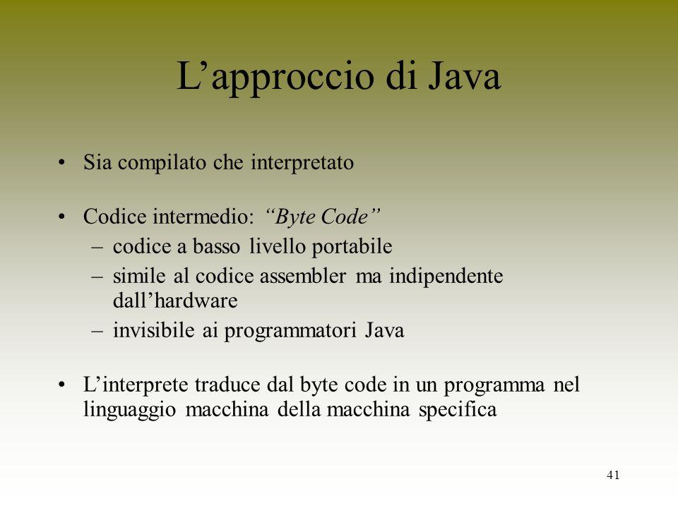 L'approccio di Java Sia compilato che interpretato