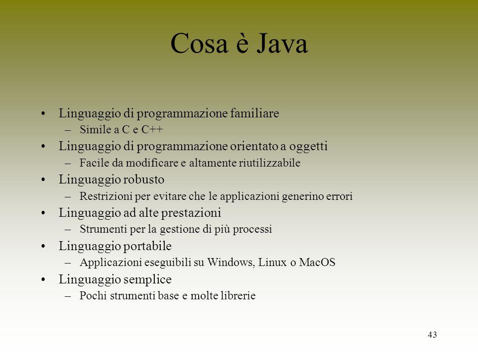 Cosa è Java Linguaggio di programmazione familiare