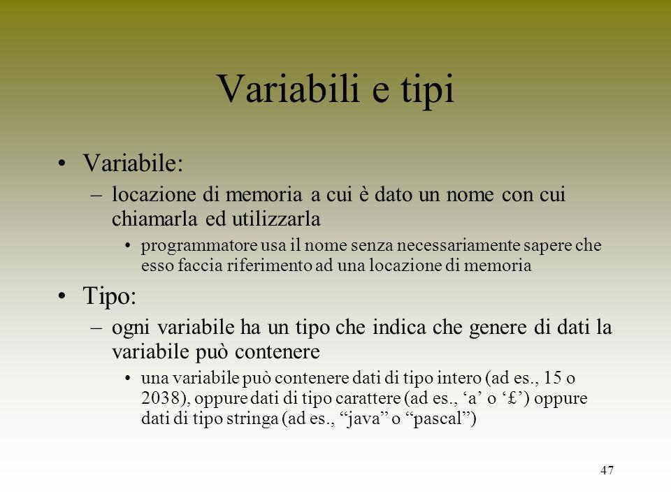 Variabili e tipi Variabile: Tipo: