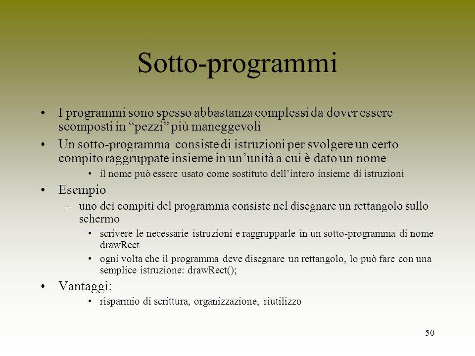 Sotto-programmi I programmi sono spesso abbastanza complessi da dover essere scomposti in pezzi più maneggevoli.