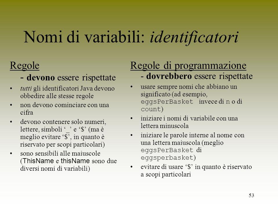 Nomi di variabili: identificatori