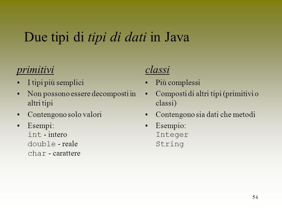 Due tipi di tipi di dati in Java