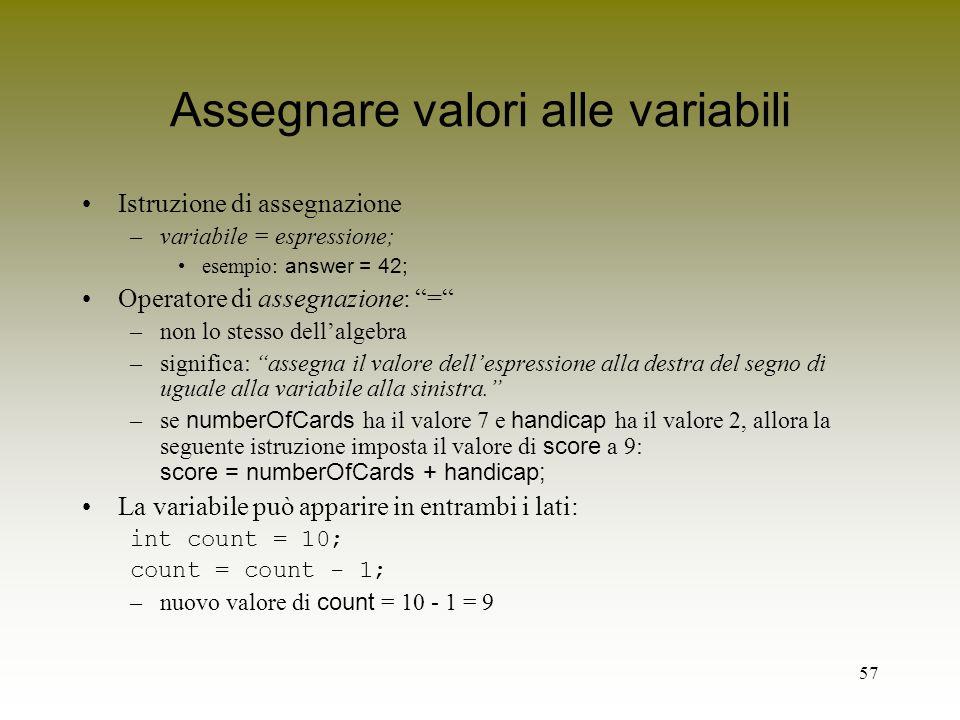 Assegnare valori alle variabili
