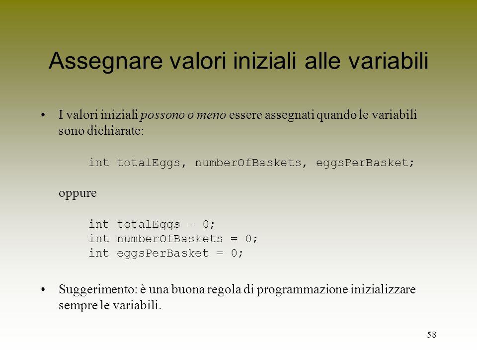 Assegnare valori iniziali alle variabili