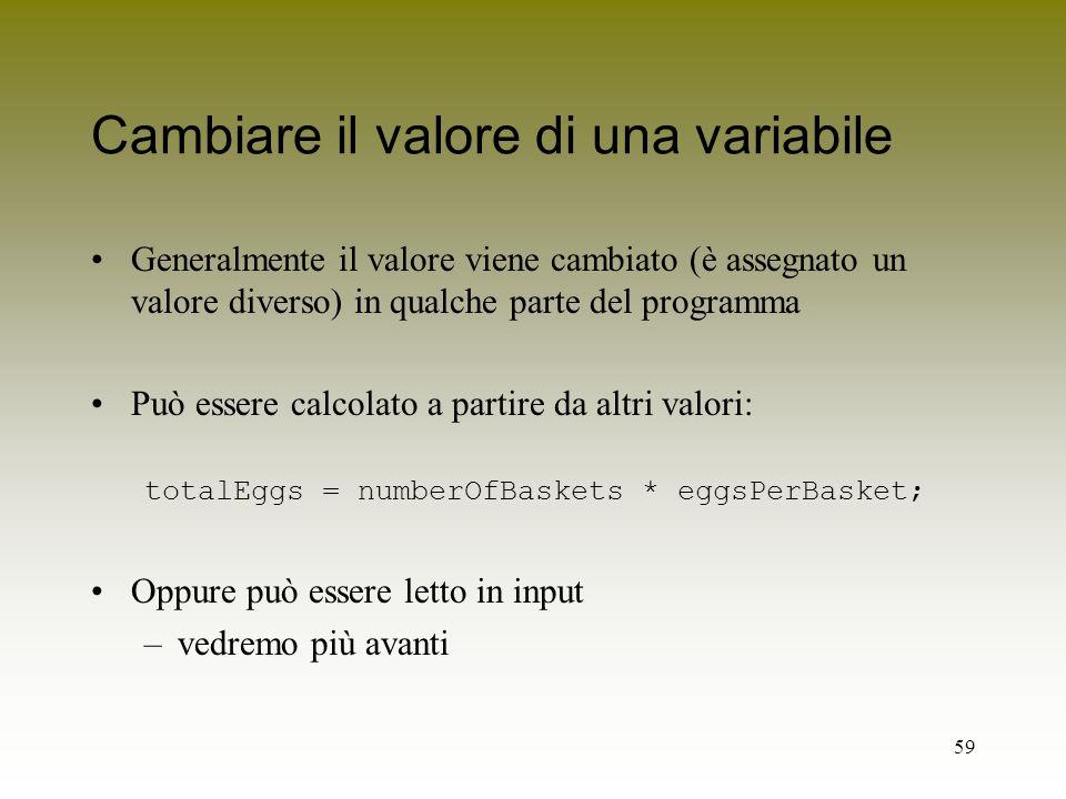 Cambiare il valore di una variabile