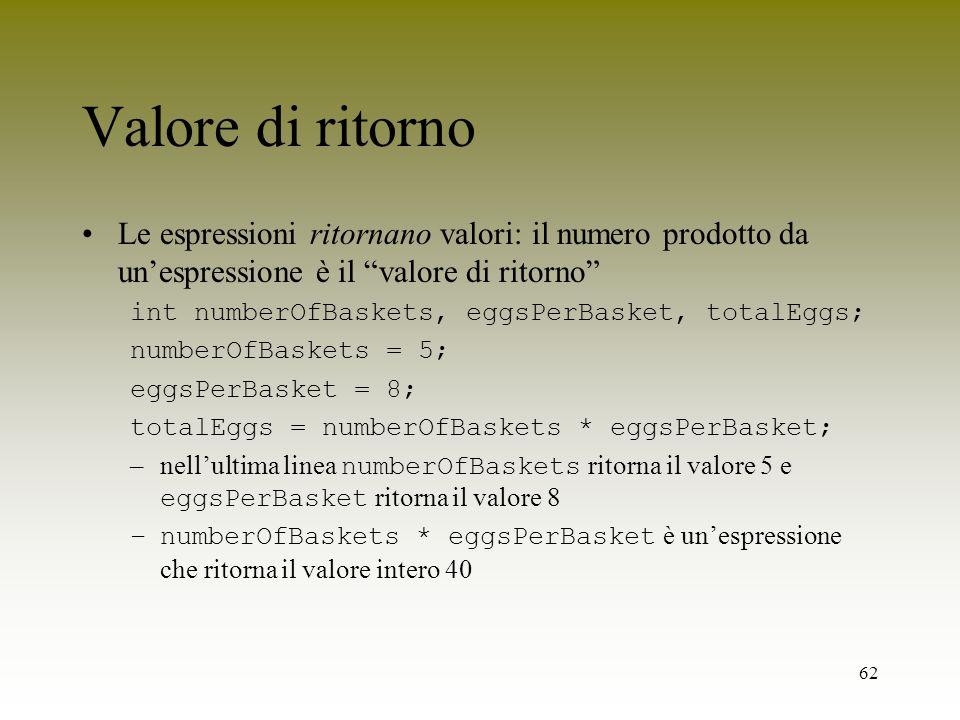 Valore di ritornoLe espressioni ritornano valori: il numero prodotto da un'espressione è il valore di ritorno