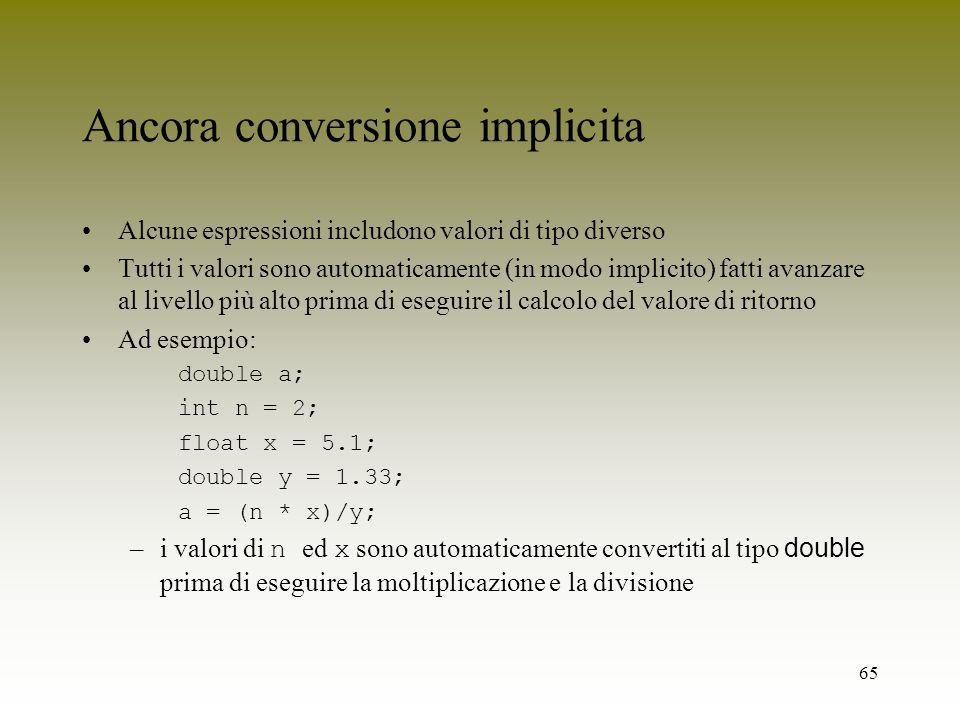 Ancora conversione implicita