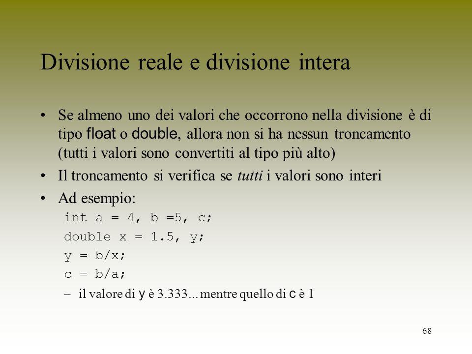 Divisione reale e divisione intera