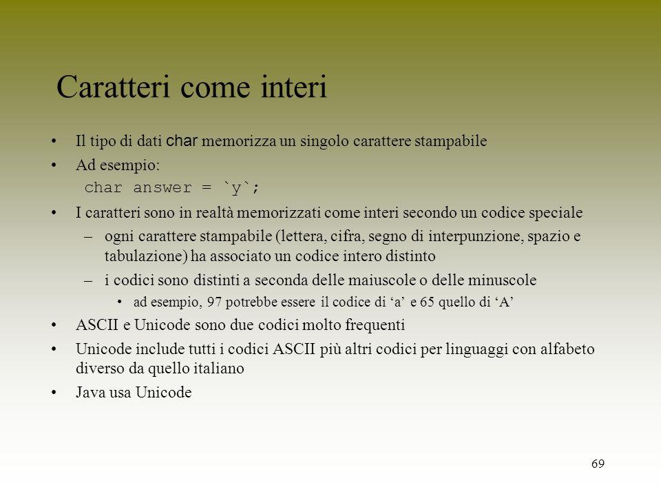 Caratteri come interiIl tipo di dati char memorizza un singolo carattere stampabile. Ad esempio: char answer = `y`;
