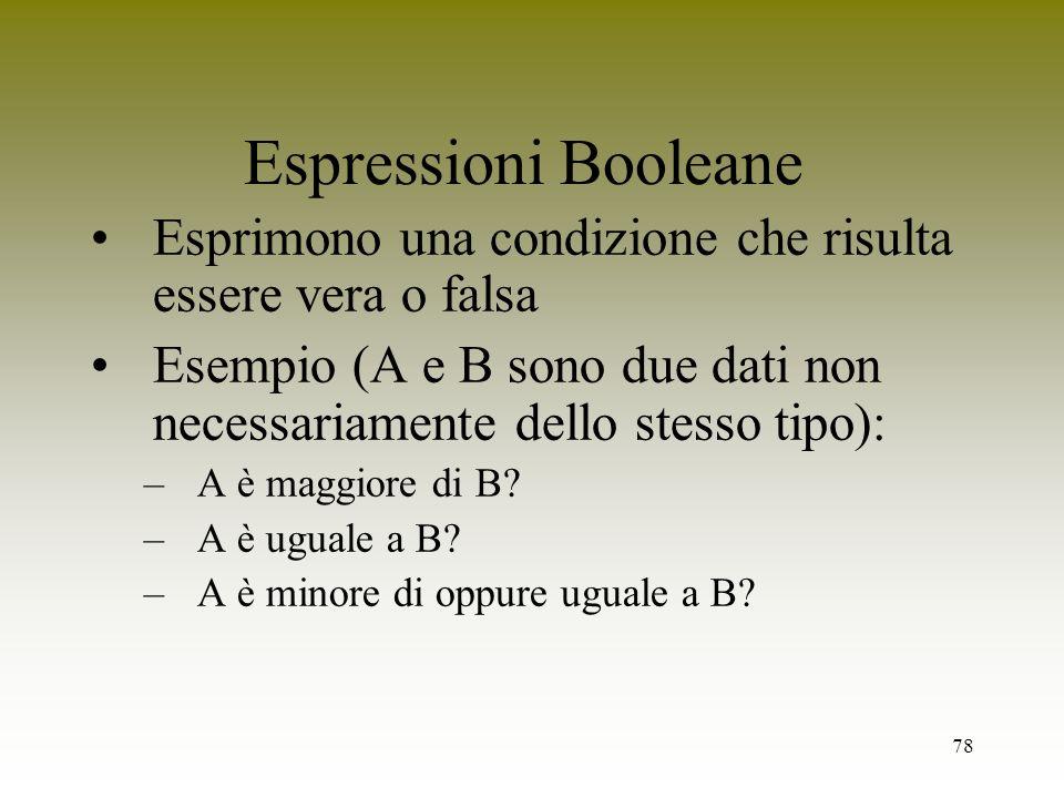 Espressioni Booleane Esprimono una condizione che risulta essere vera o falsa. Esempio (A e B sono due dati non necessariamente dello stesso tipo):