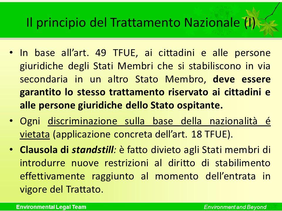 Il principio del Trattamento Nazionale (I)