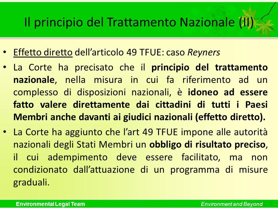 Il principio del Trattamento Nazionale (II)