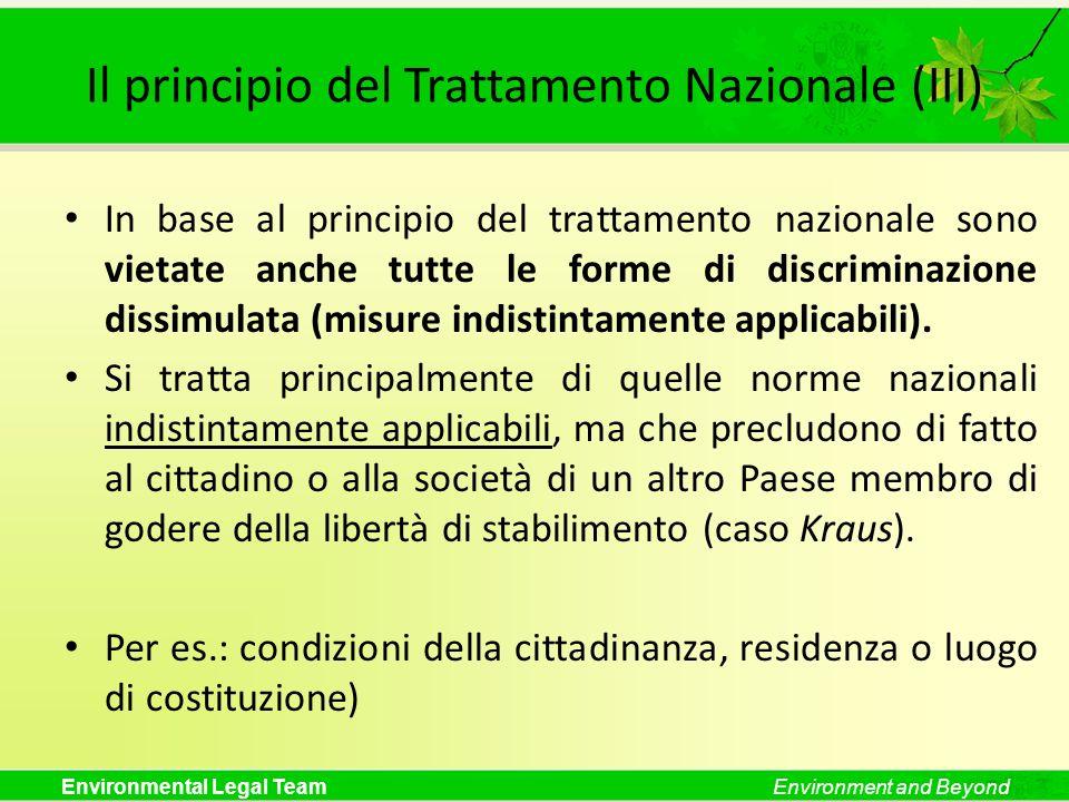 Il principio del Trattamento Nazionale (III)