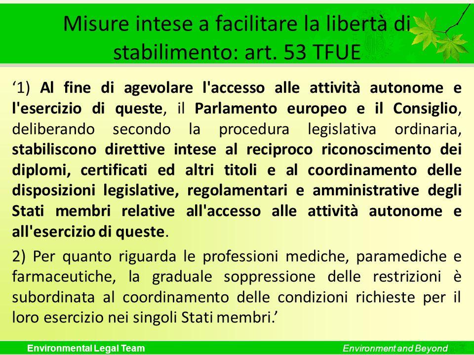 Misure intese a facilitare la libertà di stabilimento: art. 53 TFUE