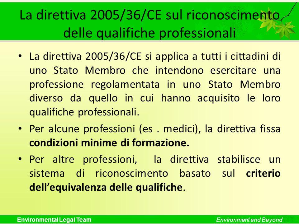 La direttiva 2005/36/CE sul riconoscimento delle qualifiche professionali