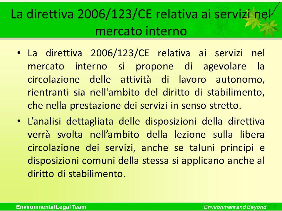 La direttiva 2006/123/CE relativa ai servizi nel mercato interno
