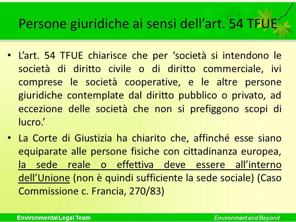 Persone giuridiche ai sensi dell'art. 54 TFUE