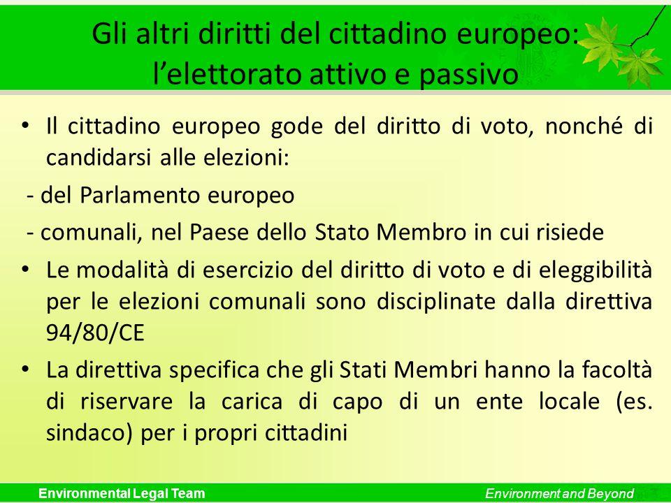 Gli altri diritti del cittadino europeo: l'elettorato attivo e passivo