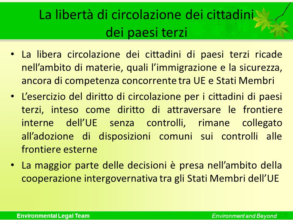 La libertà di circolazione dei cittadini dei paesi terzi