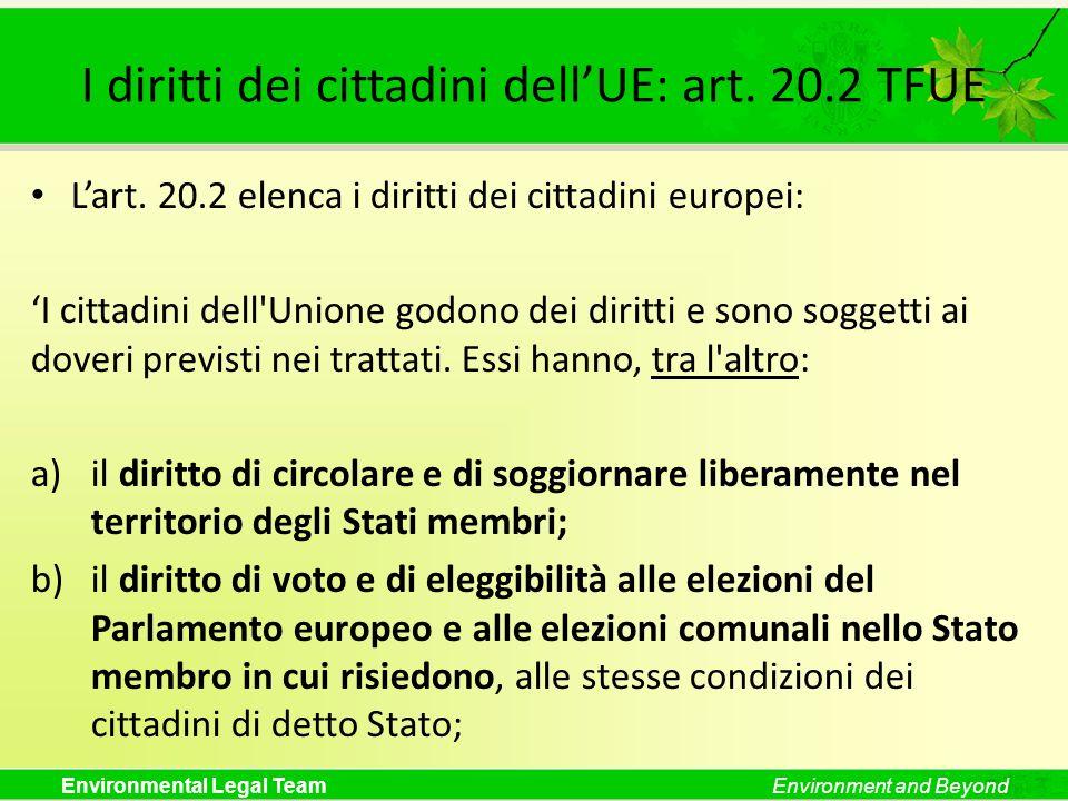 I diritti dei cittadini dell'UE: art. 20.2 TFUE