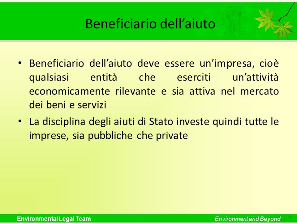 Beneficiario dell'aiuto
