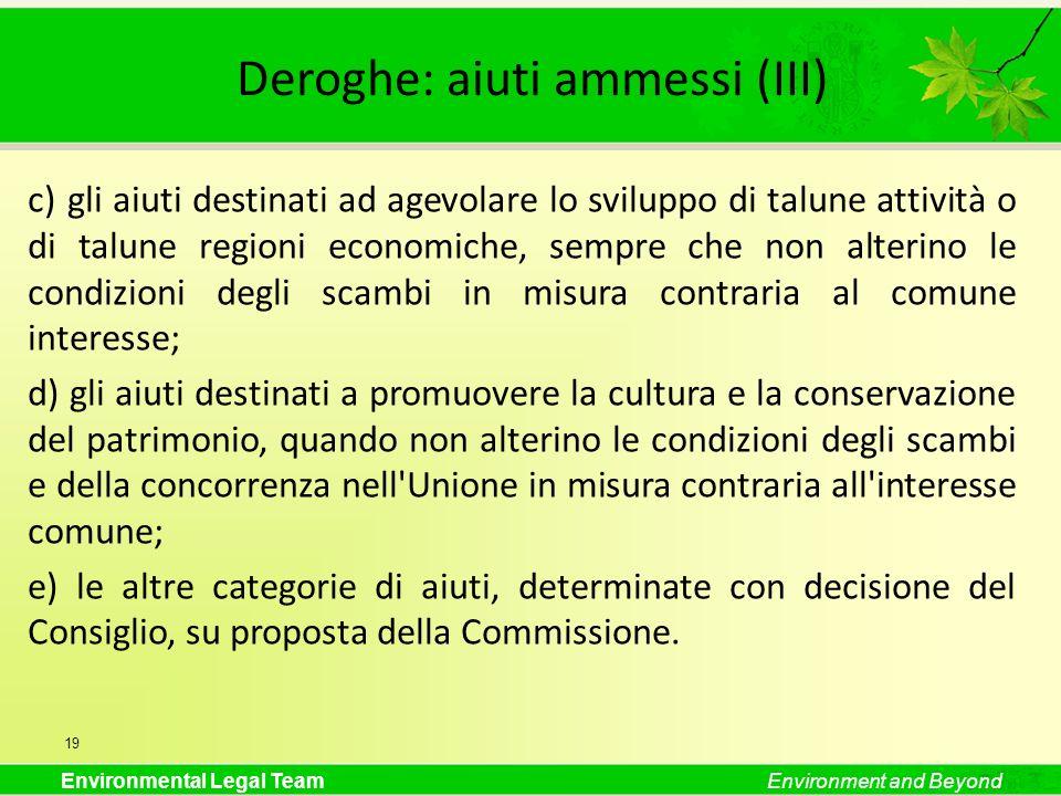 Deroghe: aiuti ammessi (III)