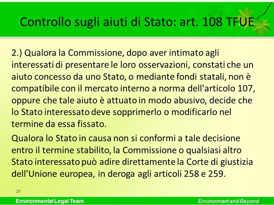 Controllo sugli aiuti di Stato: art. 108 TFUE