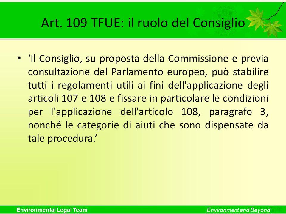 Art. 109 TFUE: il ruolo del Consiglio