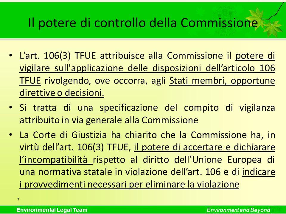 Il potere di controllo della Commissione