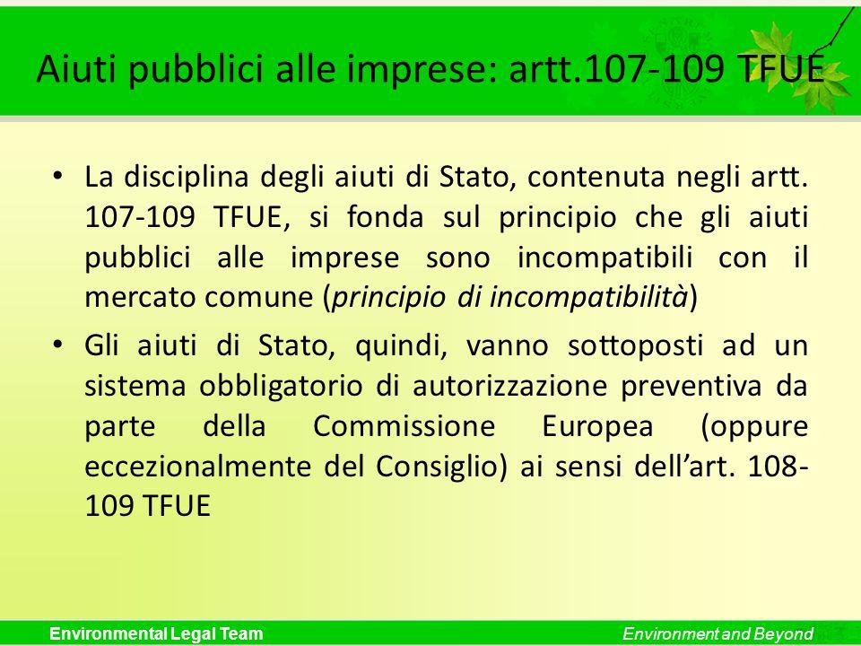 Aiuti pubblici alle imprese: artt.107-109 TFUE