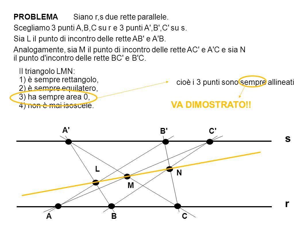 s r VA DIMOSTRATO!! PROBLEMA Siano r,s due rette parallele.