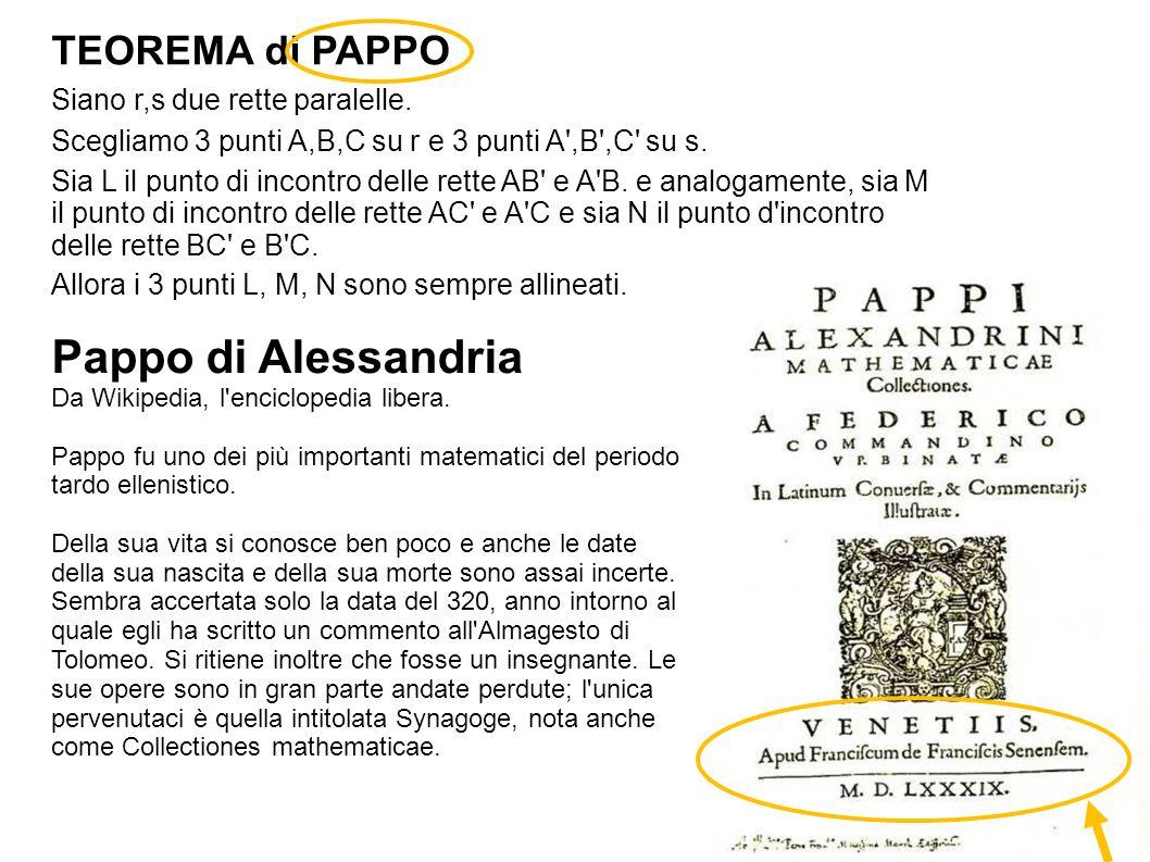 Pappo di Alessandria TEOREMA di PAPPO Siano r,s due rette paralelle.
