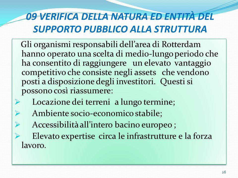 09 VERIFICA DELLA NATURA ED ENTITÀ DEL SUPPORTO PUBBLICO ALLA STRUTTURA