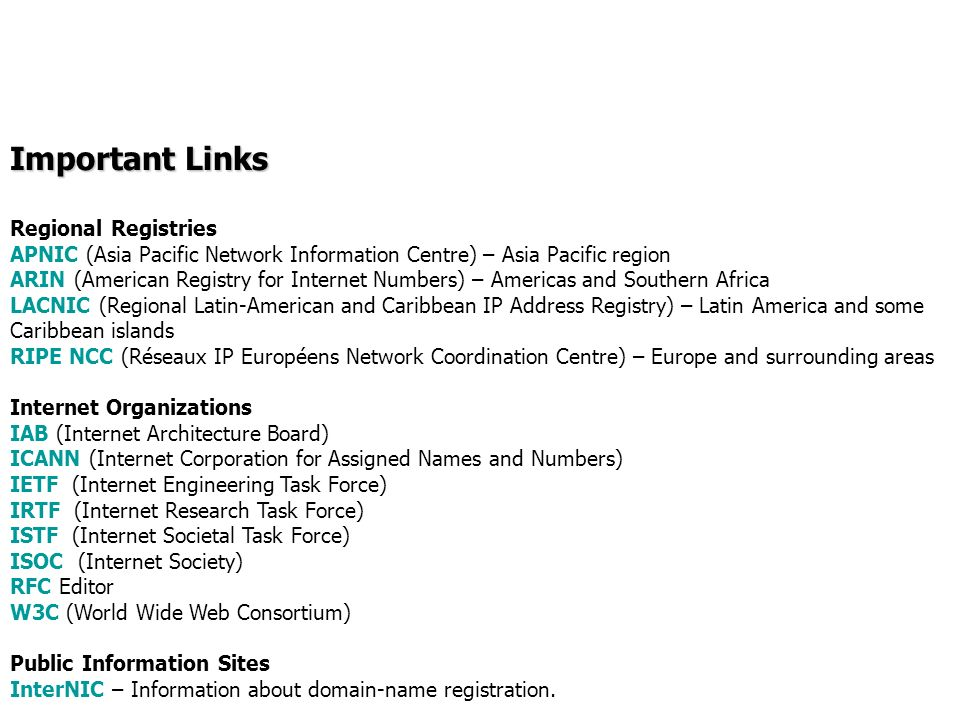 Important Links Regional Registries