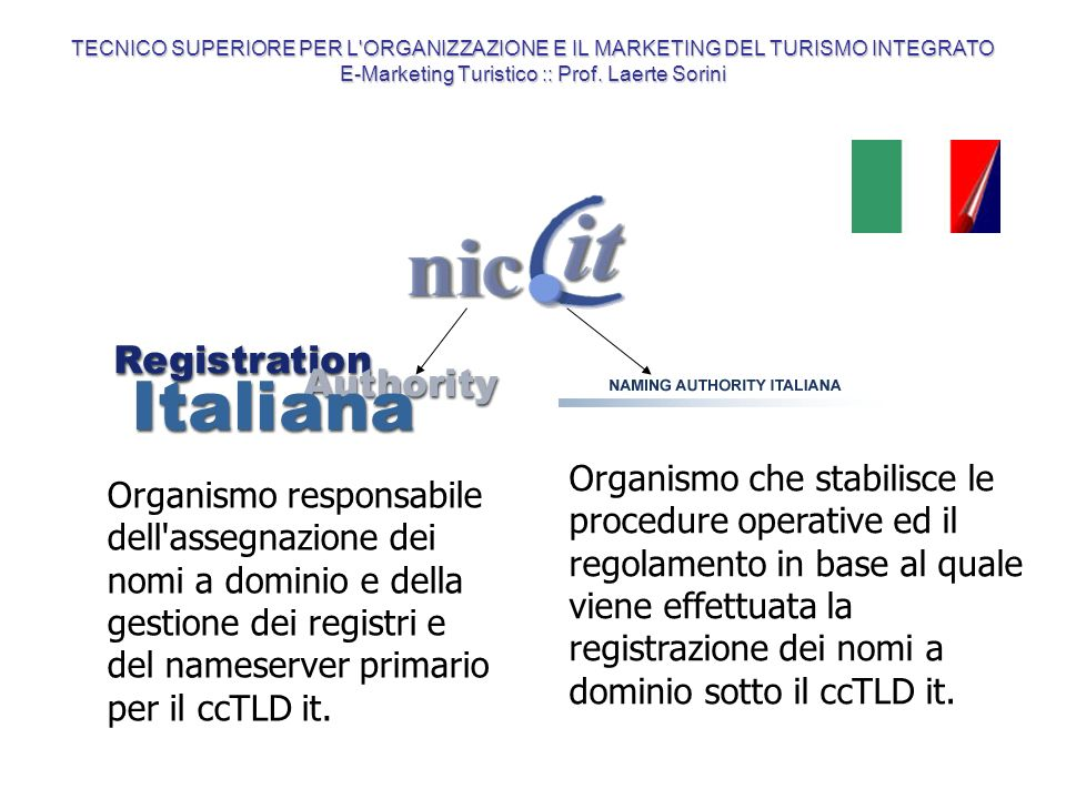TECNICO SUPERIORE PER L ORGANIZZAZIONE E IL MARKETING DEL TURISMO INTEGRATO E-Marketing Turistico :: Prof. Laerte Sorini