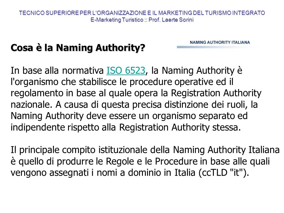 Cosa è la Naming Authority