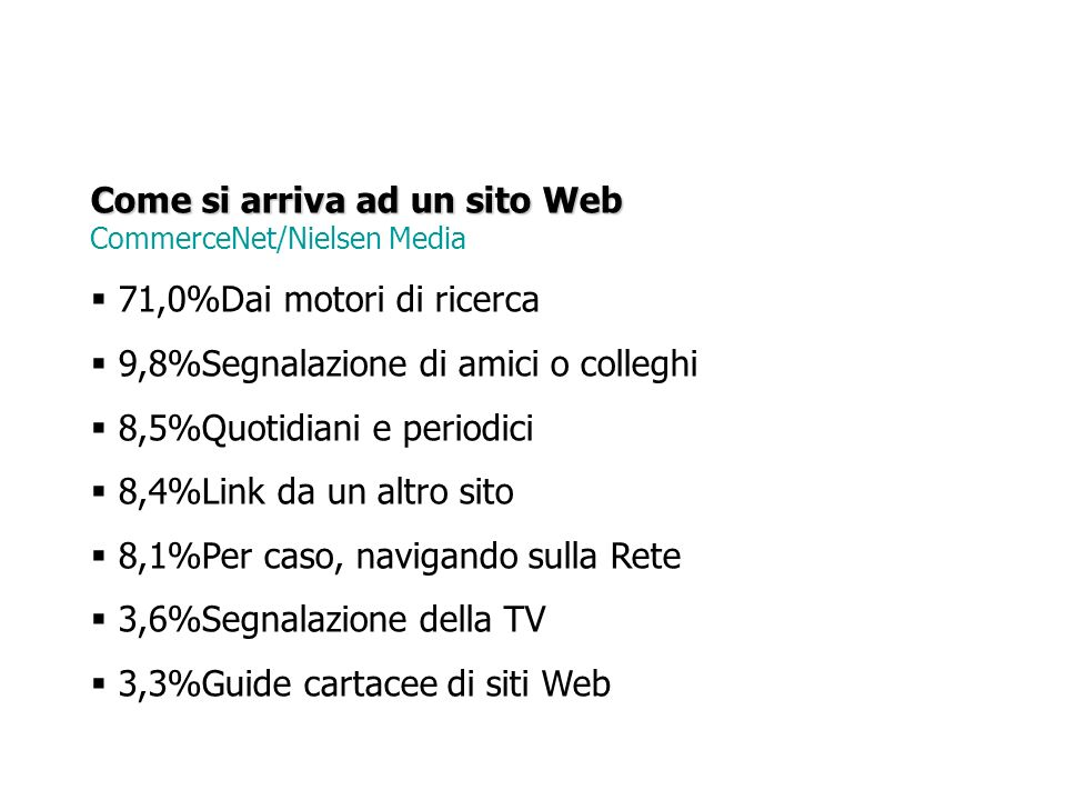 Come si arriva ad un sito Web CommerceNet/Nielsen Media